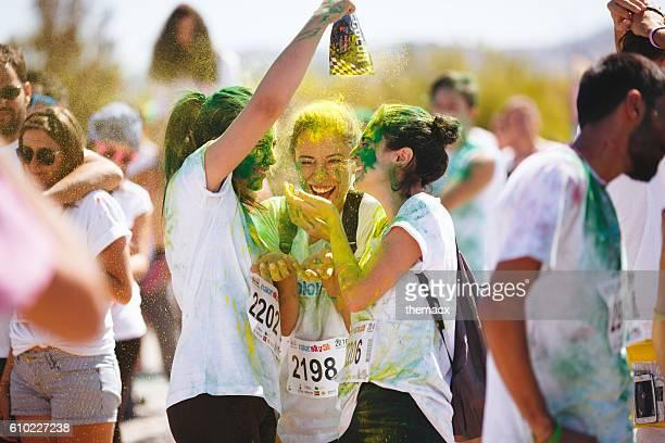 People celebrating the holi festival in izmir - turkey