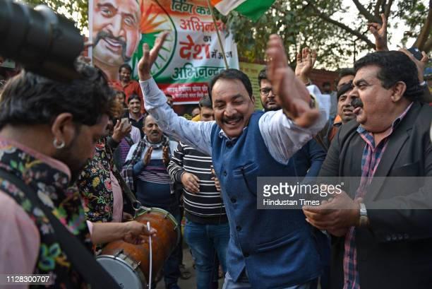 People celebrating the release of IAF pilot Abhinandan Varthaman at Sarojini Nagar on March 1 2019 in New Delhi India Wing Commander Abhinandan...