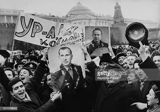 People Celebrating The Succes Of The Mission Voskhod Ii In Moscow On The Sixties