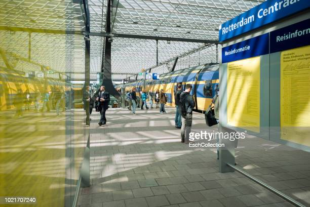 People changing trains at Rotterdam Central Station