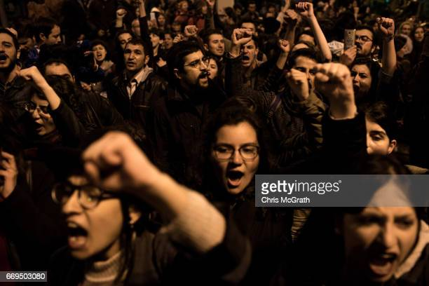 People chant slogans and march in the street protesting the result of last nights constitutional referendum on April 17, 2017 in Istanbul, Turkey....