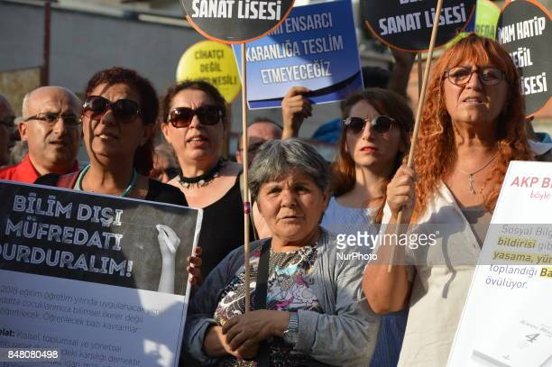 People chant slogans as they protest against the Turkish government's new education policies in Ankara Turkey on September 16 2017 The Turkish...