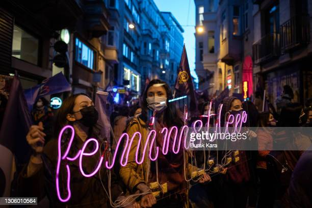 People chant slogans during a rally for International Women's Day on March 08, 2021 in Istanbul, Turkey. Women around the world attended events,...