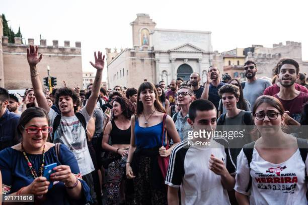 People chanting slogans during a rally in Rome Italy on June 11 2018 against Italian government decision to block ports to a German NGO ship with 629...