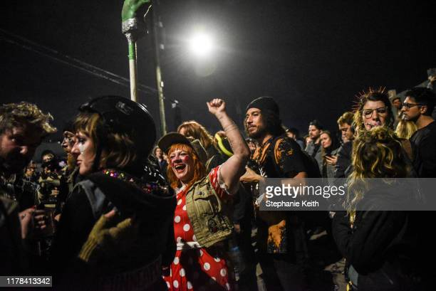 People cheer after a round of bike jousting during the annual Bike Kill event on October 26 2019 in New York City Bike Kill is a gathering of bike...