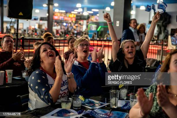 People cheer as Florida is called for US President Donald Trump at a watch party for Republicans on election day, November 3, 2020 in Austin, Texas.