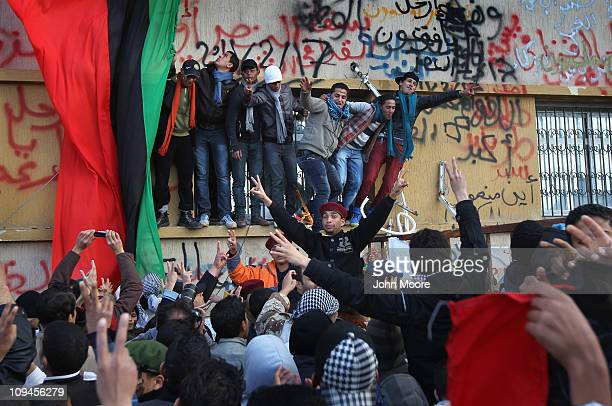People cheer during a celebration of the 'liberation' of eastern Libya on February 26, 2011 in Benghazi, Libya. Citizens continue to rally in...