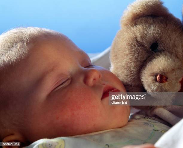 People Child People Child sleeping baby with teddy bear