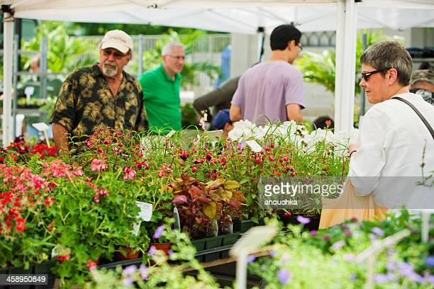 人を選択すると、植物の庭園にストリートマーケット - ユニオンスクエア ストックフォトと画像
