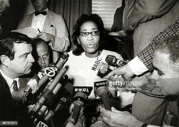 June 1966 New York Mrs James Meredith holds a press conference after her civil rights activist husband had been shot James Meredith was the first...