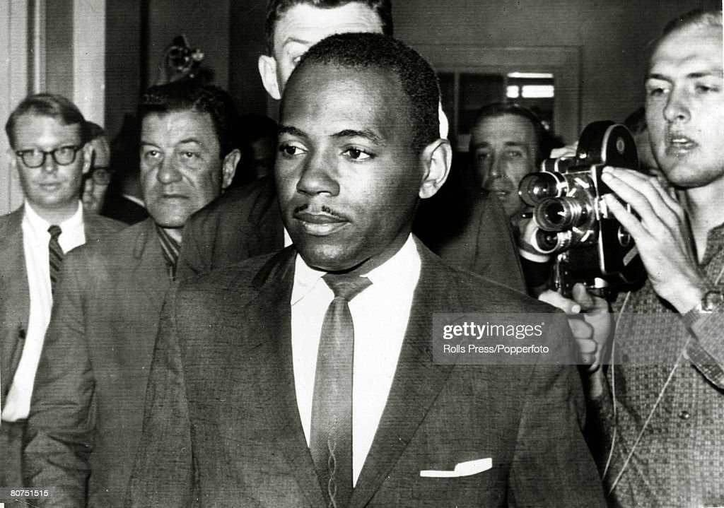 October 1962, Oxford, Mississippi, Black student James Meredith leaves the registrar's office after enrolling, James Meredith was the first black student at the University of Mississippi, his enrollment enforced by federal troops due to protests