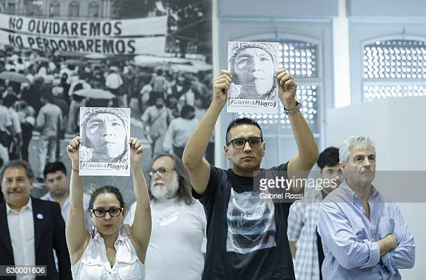 People claim for the release of leader of Tupac Amaru Organization Milagro Sala during the delivery of repaired files to the descendants of 20...