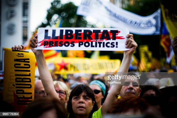 People claiming freedom for catalan political prisoners during the demonstration of Independence political parties and independence assosiations...