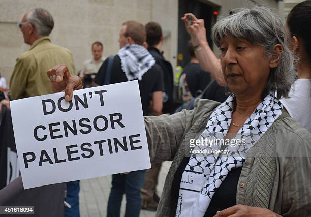 People claiming that BBC's recent broadcasts on Jerusalem and West Bank weren't objective gather to protest BBC at the BBC headquarters in London...
