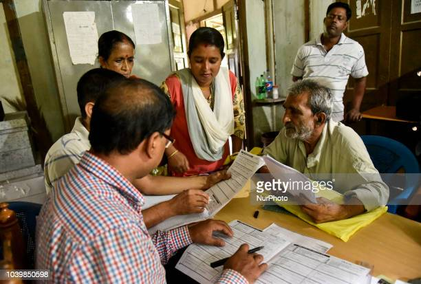 People claiming with documents at NRC Seva Kendra whose names were excluded from the complete draft in Guwahati Assam India on Tuesday September 25...
