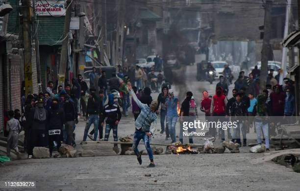 People clash with Indian Government Forces after the restrictions were over in Srinagar Indian Administered Kashmir on 24 March 2019 Restrictions...