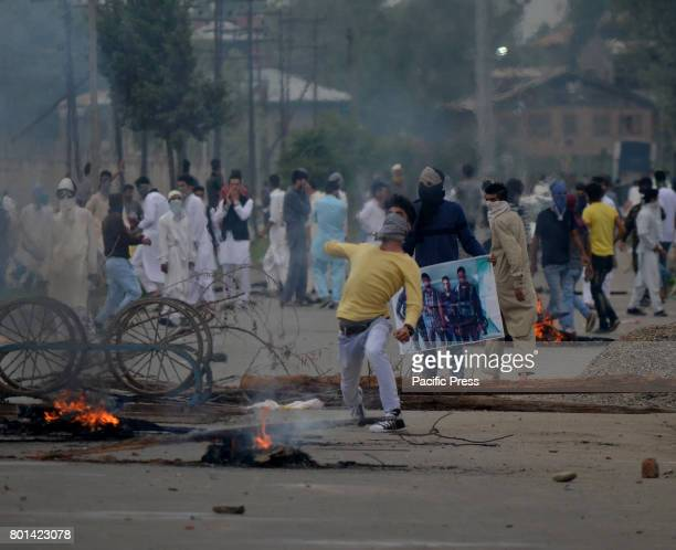 People clashed with Indian forces after the Eid Prayers in Eid Gah Old City Srinagar