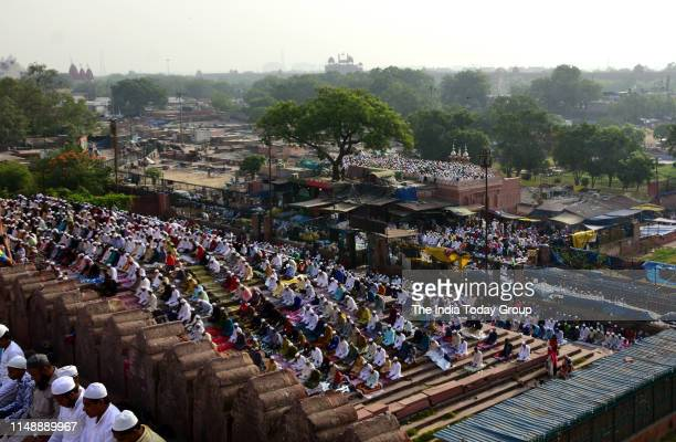 People clicked while offering namaz on the occasion of Eid-ul-Fitr at Jama Masjid in New Delhi.