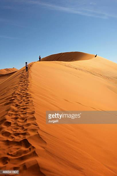 people climbing red sand dunes at sossusvlei, namibia - namibia stock pictures, royalty-free photos & images