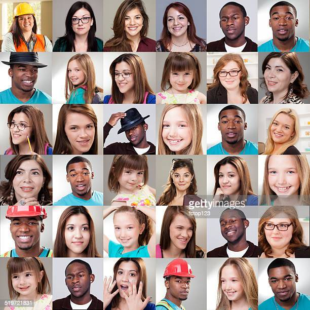 people collage. different expressions, ethnicities, ages. - global village stock pictures, royalty-free photos & images