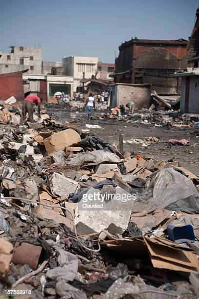 people collecting garbage - trail of tears stock photos and pictures