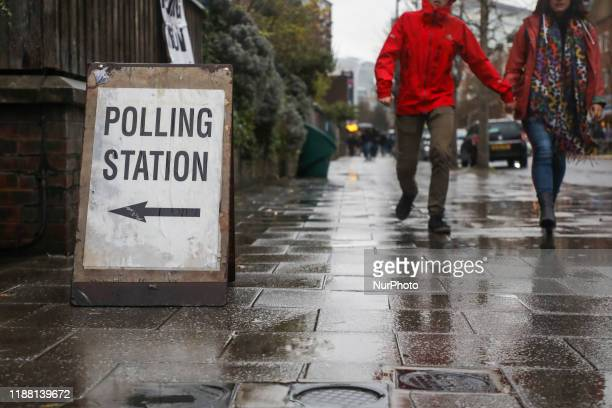 People come to vote in UK General Election to a polling station in London United Kingdom on December 12 2019
