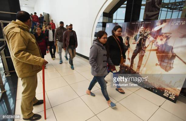 People coming out of the cinema hall after watching Padmaavat at Centre stage mall on January 25 2018 in Noida India According to the film's maker...