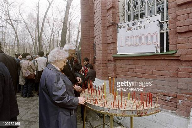 People commemorate the 19151916 Armenian genocide outside the Armenian church in Moscow on April 24 1989 More than 2000 Armenians gathered for the...