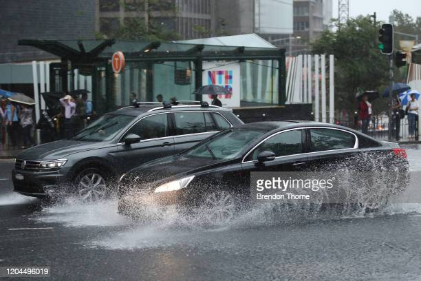 People commute to work on February 07 2020 in Sydney Australia A severe weather warning is in place for Sydney and most of the NSW coast with 130mm...