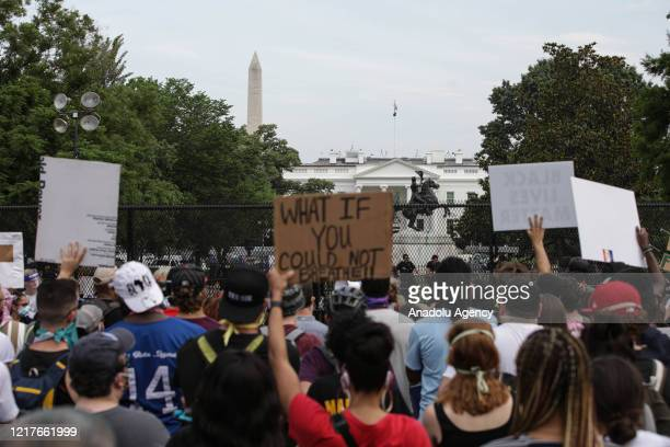 People continue to protest over the death of George Floyd on June 4 2020 at Lafayette Square near White House in Washington DC United States George...