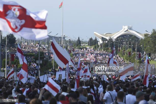 People continue to protest over the presidential election as they march to the Stella Square in the capital Minsk, Belarus on August 30, 2020....