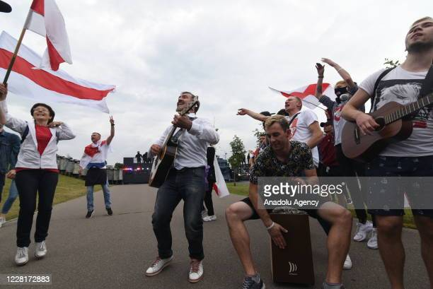 People continue to protest over the presidential election on the 15th day at the Independence Square in the capital Minsk, Belarus on August 23,...