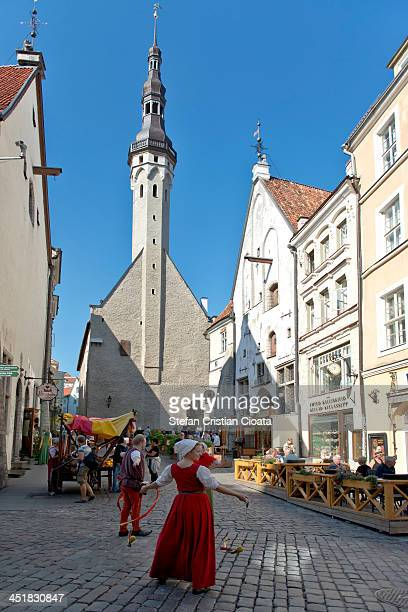 CONTENT] People costumed in medieval clothes on the streets of Old town Tallinn They create a beautiful medieval mood to attract tourists Tallinn is...