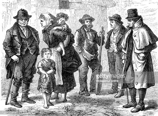 People, country people from Ireland in 1870 / Leute, Landbewohner aus Irland im Jahre 1870, Historisch, historical, digital improved reproduction of...