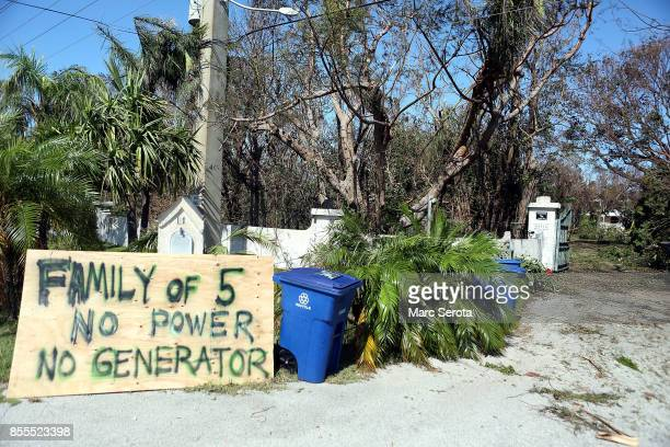 People create signs following powerful Hurricane Irma on September 12 2017 in Key Largo Florida in the Florida Keys Irma made landfall in the Florida...