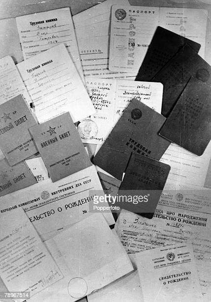 circa 1960 Moscow False documents found on the disclosed and arrested USA Secret Service agent VM Slavnov