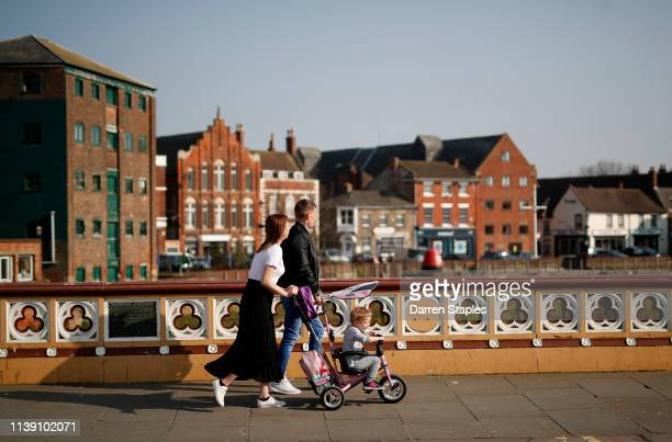 People cross the River Witham on March 29 2019 in Boston England The town of Boston in Lincolnshire voted with a 75% majority to leave the European...