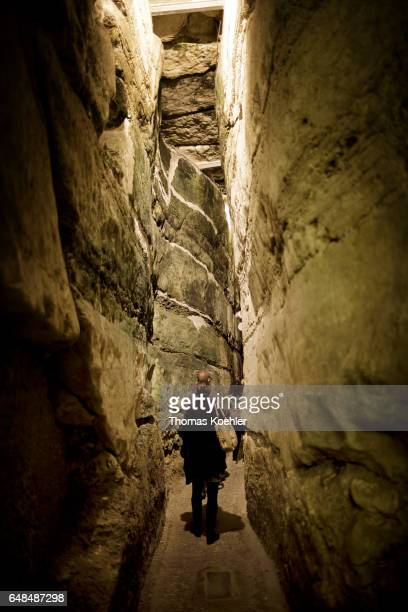 People cross the tunnel under the historic city center of Jerusalem on February 08 2017 in Jerusalem Israel