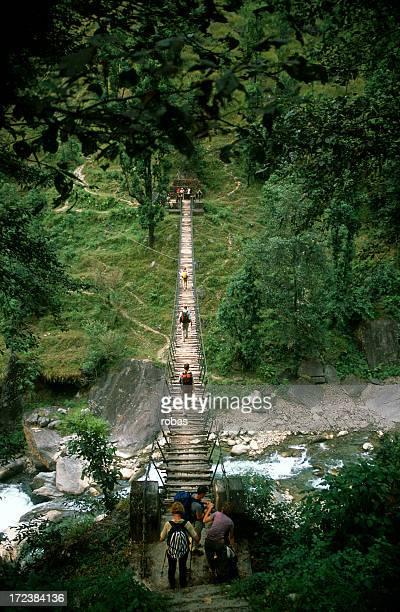 People crossing a suspension bridge