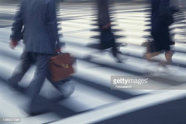 People crossing at the crosswalk, high angle view, blurred motion, Tokyo, Japan