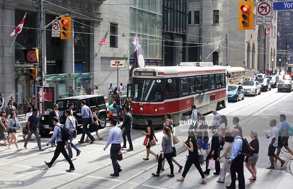 People Crossing King Street at Yonge, Downtown Toronto, Ontario, Canada : Stock Photo