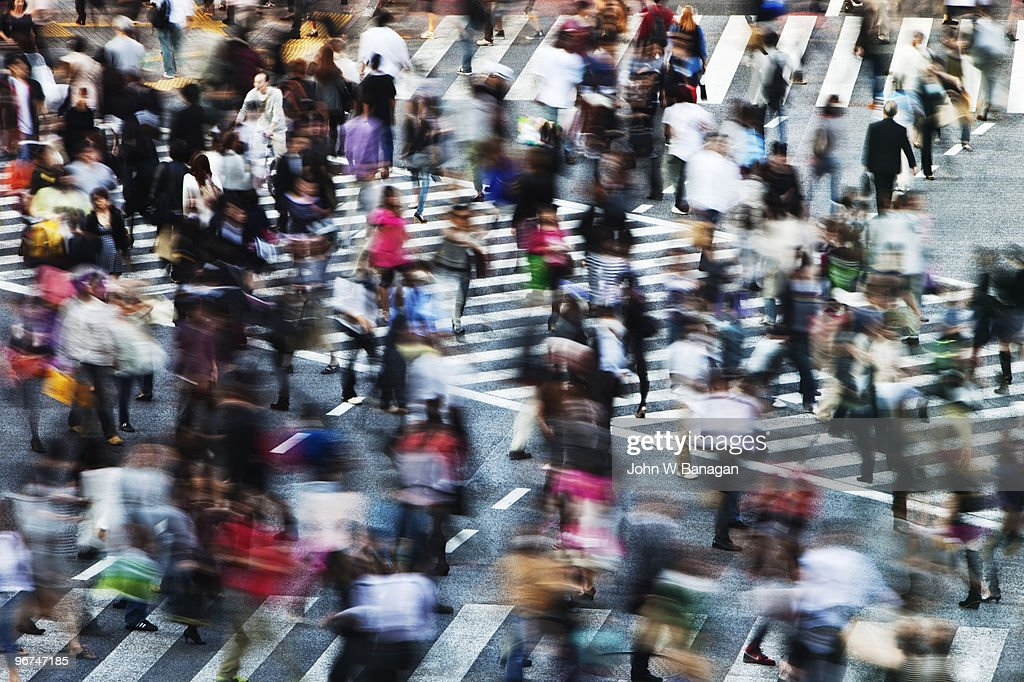 People crossing road : Stock Photo
