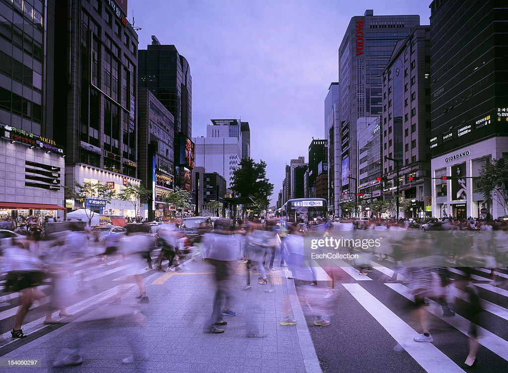 People crossing street at busy Gangnam in Seoul : Stock Photo