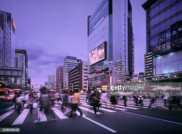 People crossing street at Gangnam in Seoul
