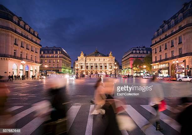 People crossing street at Place de l'Opera, Paris