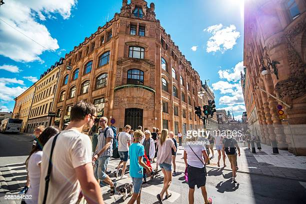 People crossing street in Stockholm, Sweden
