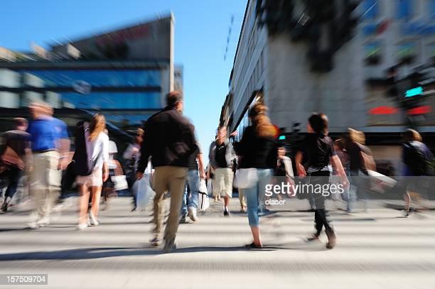 People crossing street, motion blur