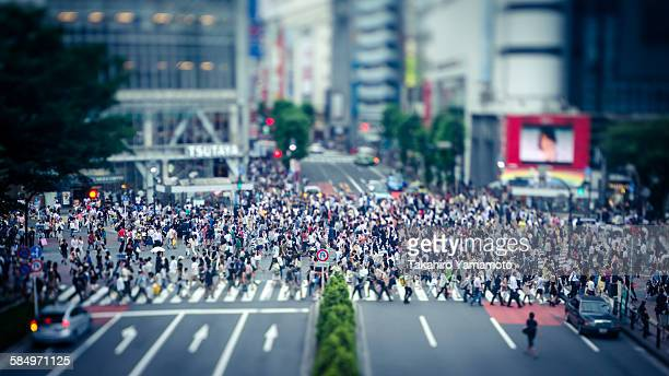 people crossing the shibuya intersection - shibuya ward stock pictures, royalty-free photos & images