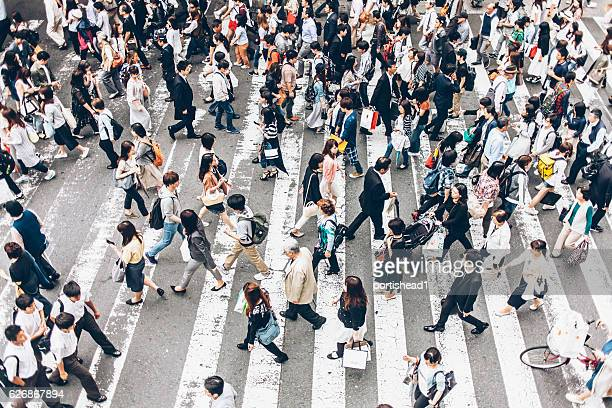 people crossing the street on walkway - japan commuters ストックフォトと画像