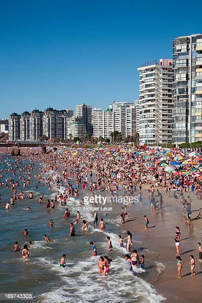 People crowd beach near high-rise apartments